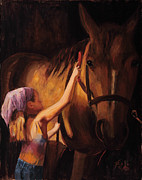 Barn Painting Posters - A Girls First Love Poster by Billie Colson