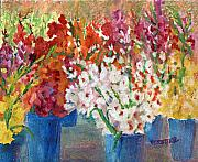 Gladiolas Painting Framed Prints - A Gladiola Party Framed Print by Jimmie Trotter