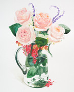 Pink And Lavender Prints - A Glass Jug Filled With Pink Roses And Lavender Print by Ayako Tsuge