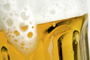 Extreme Close Up Posters - A Glass Of Beer Poster by Caspar Benson