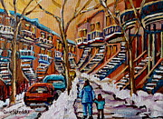Montreal Winter Scenes Prints - A Glorious Day Print by Carole Spandau