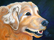Retriever Drawings Posters - A Golden Adventure Poster by Susan A Becker