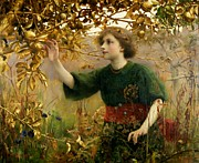 Picking Framed Prints - A Golden Dream Framed Print by Thomas Cooper Gotch