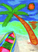 Tropical Art Pastels Prints - A Good Day Print by William Depaula