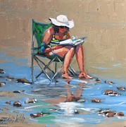 Beach Scene Painting Originals - A Good Read by Laura Lee Zanghetti