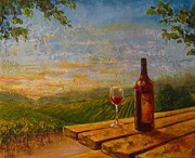 Wine Bottle Paintings - A Good Year by Jane MIck