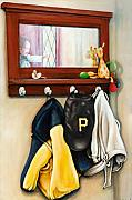 Baseball Cap Mixed Media Posters - A grandsons Prized Possessions Pirates Poster by Leo Malboeuf