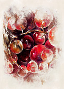 Vine Grapes Painting Posters - A Grape Love Story Poster by Rachel Christine Nowicki