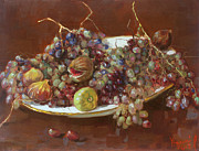 Grapes Paintings - A Greek Summer Plate by Ylli Haruni