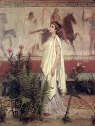 Smell Prints - A Greek Woman Print by Sir Lawrence Alma-Tadema