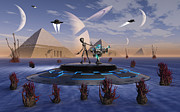 Flying Saucer Digital Art - A Grey Alien Visits The Site Of Three by Mark Stevenson