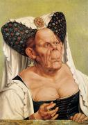 Headdress Painting Framed Prints - A Grotesque Old Woman Framed Print by Quentin Massys