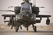 Attack Helicopters Framed Prints - A Group Of Ah-64d Apache Helicopters Framed Print by Terry Moore