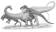 Dinosaur Illustration Posters - A Group Of Allosaurus Attack A Giant Poster by Heraldo Mussolini