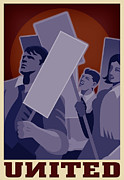 Activist Digital Art Prints - A Group Of Demonstrators Holding Placards Print by Si Huynh