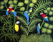 Tropical Artwork By Frederic Kohli - A Group of Macaws by Frederic Kohli