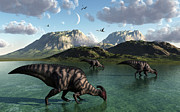 Roaming Posters - A Group Of Parasaurolophus Dinosaurs Poster by Mark Stevenson