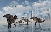 Paleozoology Art - A Group Of Parasaurolophus Duckbill by Mark Stevenson