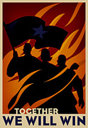 Unity Digital Art Posters - A Group Of People With The Leader Holding A Flag, Demostrating Unity Poster by Si Huynh