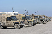 Military Base Posters - A Group Of Snatch Land Rover Patrol Poster by Andrew Chittock