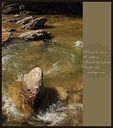 Austin Digital Art Posters - A Haiku and a Rushing Stream Poster by Jennifer Holcombe