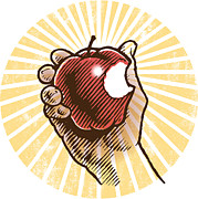 Biting Posters - A Hand Holding An Apple With A  Bite In It Poster by Ken Jacobsen