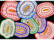 Doily Framed Prints - A Hand Painted Colorful Folk Art Doilies Framed Print by Tooco