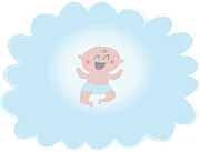 Mouth Open Digital Art Prints - A Happy Baby Boy On A Blue Background Print by Teresa Woo-Murray