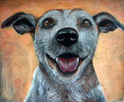 Mutt Drawings - A Happy Mutt by Linda Kemp