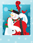 Bass Digital Art Prints - A Happy Snowman Playing An Upright Bass Print by Teresa Woo-Murray