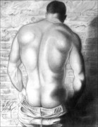 Homoerotic Drawings Framed Prints - A Hard Place Framed Print by Brent  Marr