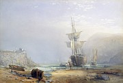 Low Tide Paintings - A Hazy Morning on the Coast of Devon by Samuel Phillips Jackson