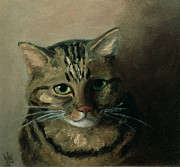 Tabby Paintings - A Head Study of a Tabby Cat by Louis Wain
