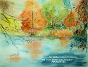 Colors Of Autumn Painting Posters - A Healing Believing Autumn Poster by Melanie Palmer