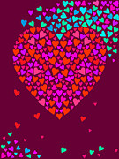 Art And Craft Digital Art - A Heart Made Of Smaller Hearts by Elmira Amirova