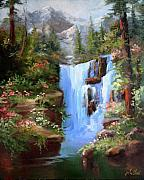 Waterfalls Paintings - A Heavenly Place by Gail Salituri