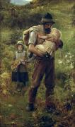 Little Girl Painting Posters - A Heavy Burden Poster by Arthur Hacker