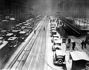 Bryant Metal Prints - A Heavy Snowfall, 42nd Street, Looking Metal Print by Everett