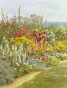 Border Metal Prints - A Herbaceous Border Metal Print by Helen Allingham