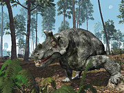 Earth Digital Art - A Herbivorous Dinocephalian Therapsid by Walter Myers