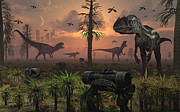 A Herd Of Allosaurus Dinosaur Cause Print by Mark Stevenson
