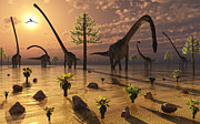 Paleozoology Art - A Herd Of Omeisaurus Dinosaurs Grazing by Mark Stevenson
