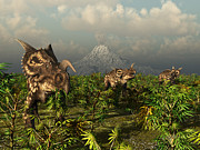 Paleozoology Art - A Herd Of Plant-eating Einiosaurus Roam by Walter Myers