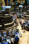 Stock Trading Prints - A High Angle View Of The New York Stock Print by Justin Guariglia