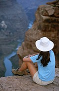 North Rim Framed Prints - A Hiker Surveys The Grand Canyon Framed Print by John Burcham