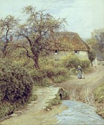Country Cottage Framed Prints - A Hill Farm Symondsbury Dorset Framed Print by Helen Allingham