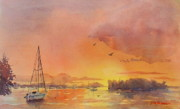 Sailboats Paintings - A Hingham Sunset by Laura Lee Zanghetti