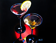 Wine Glasses Paintings - A Hint of Lemon and Olives by Kayleigh Semeniuk