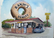 Donuts Painting Prints - A Hole In One Print by John Crowther