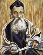 Orthodox Rabbi Prints - A Holy Man Print by Myra Goldick